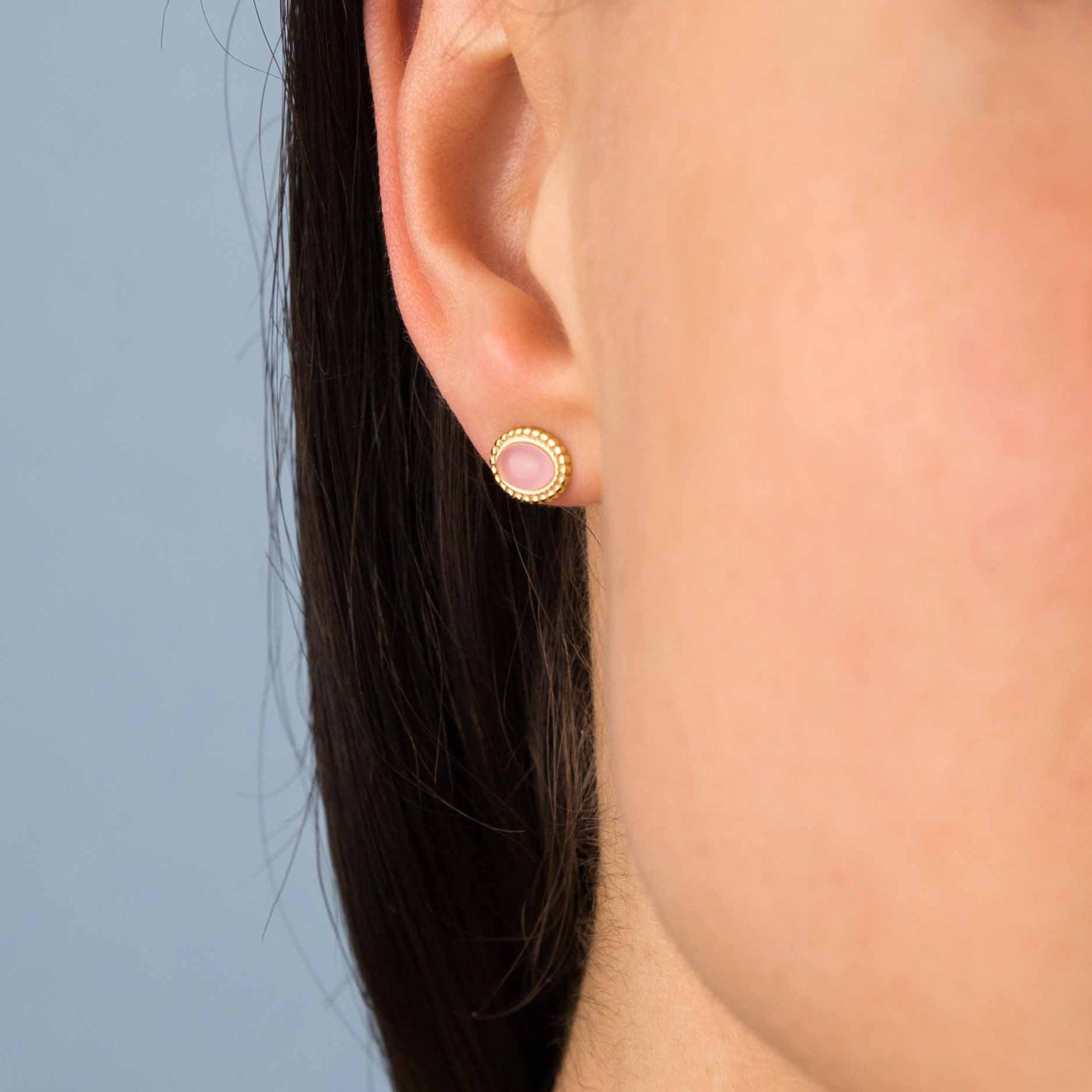 Gold Mini Oval Pink Moonstone Vintage Studs
