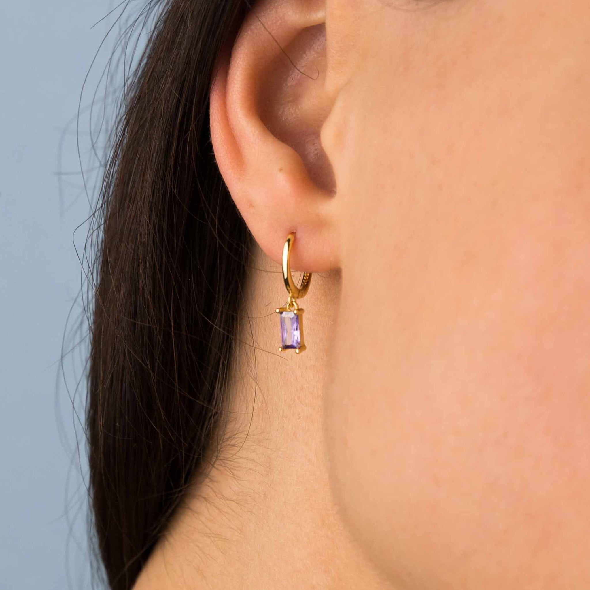 Gold Purple Zircon Hoop Earrings