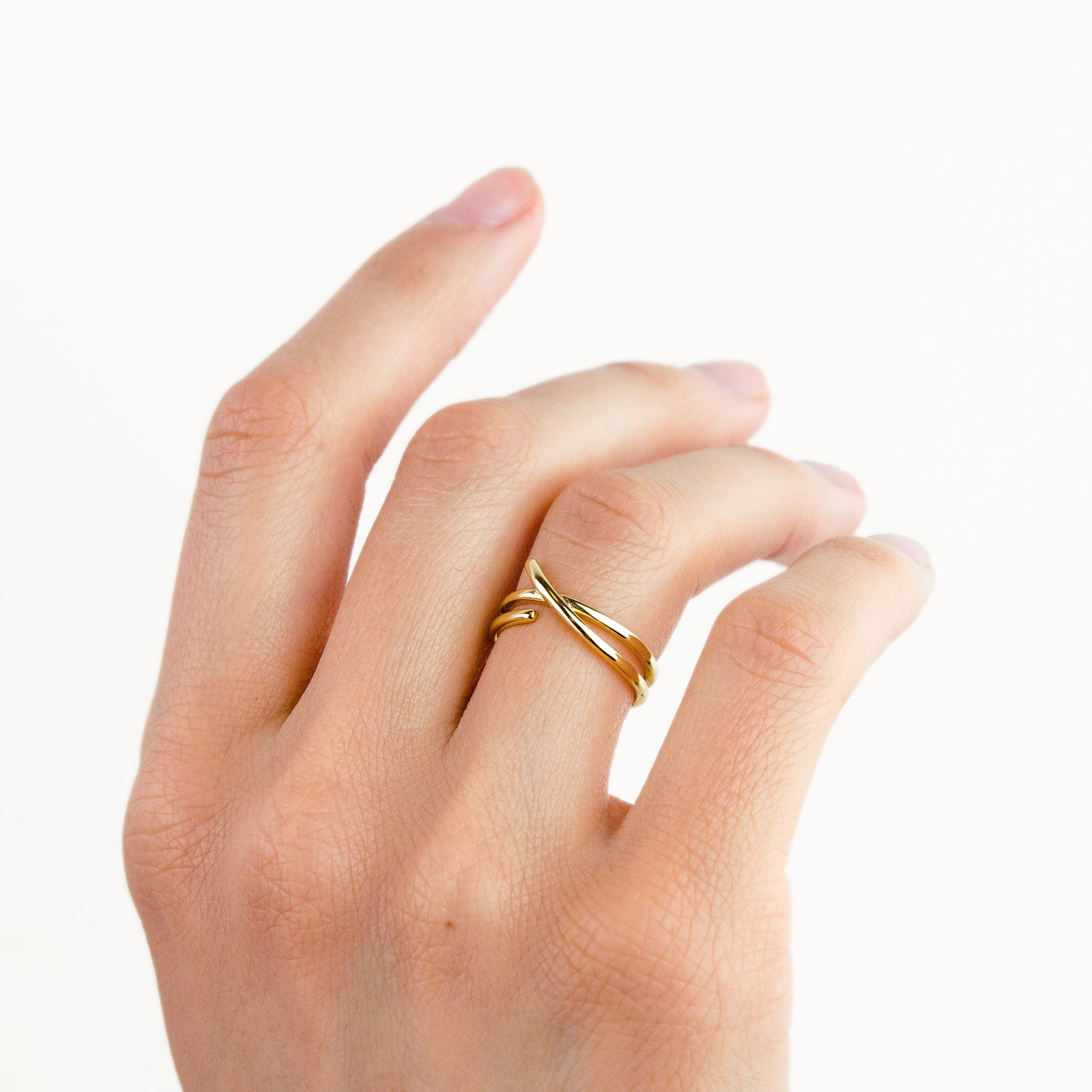 Gold Double Layer Open Ring