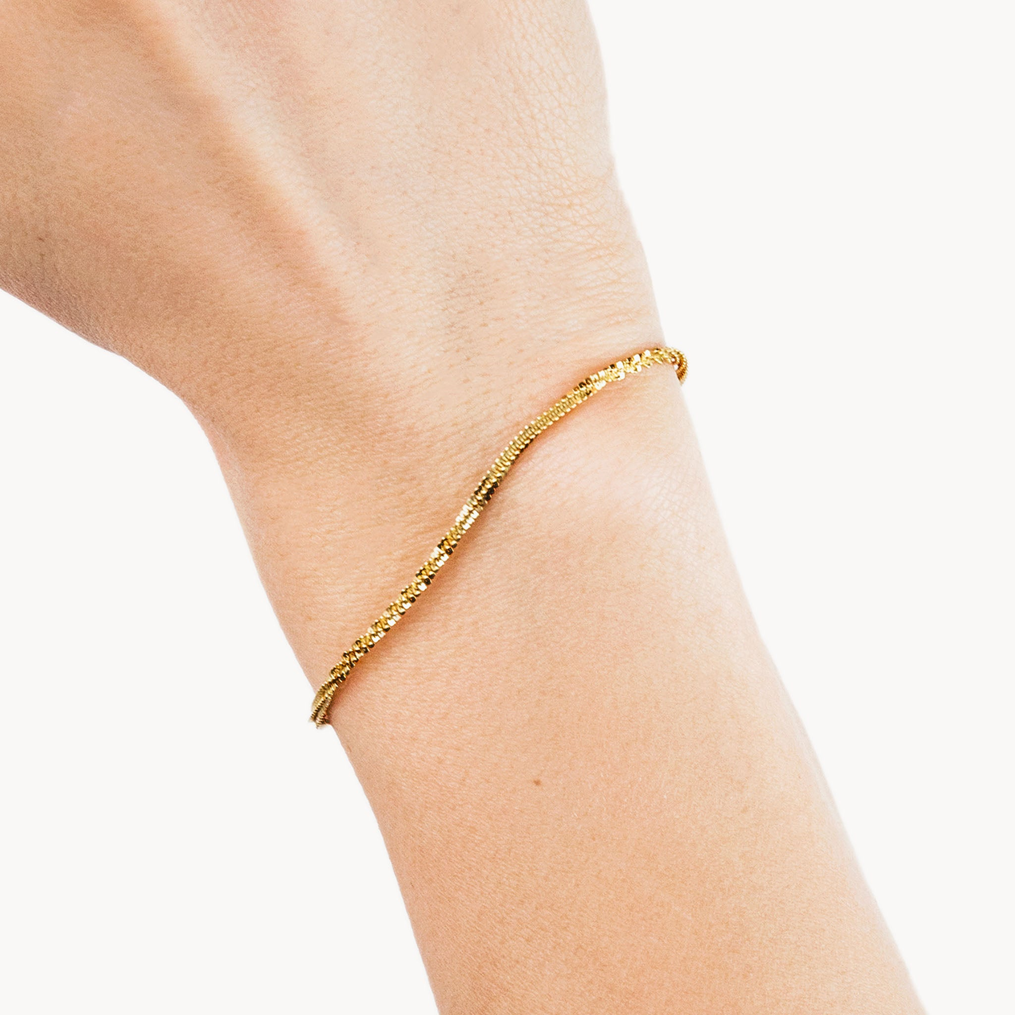 Gold Flat Twisted Chain Bracelet