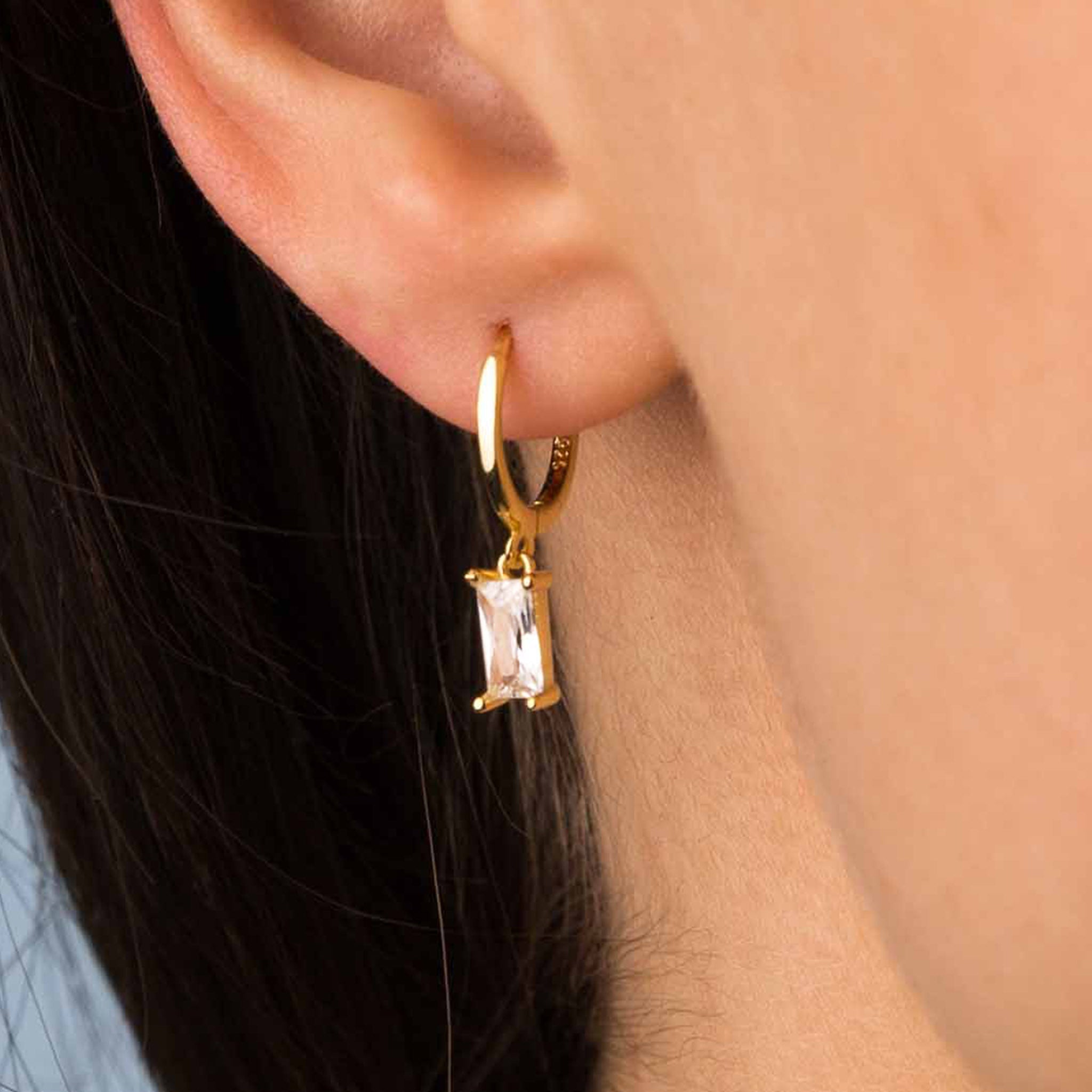 Gold White Zircon Hoop Earrings