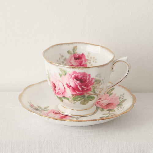 Royal Albert bone china 'American Beauty' pink rose design part tea set. 5 cups and saucers, sugar bowl and milk jug. - The Vintage Pieces