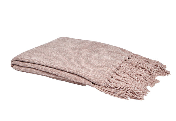 Chenille Tassel Throw Blush