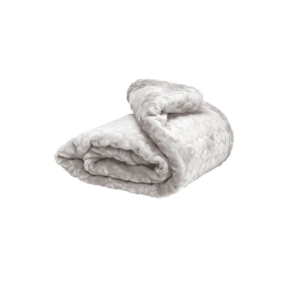 Dot Fleece Throw - Light Grey