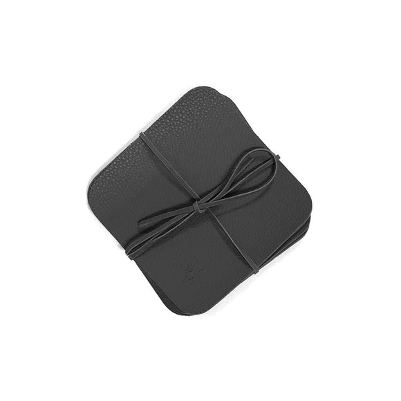 Black Leather Coasters - Set of 6