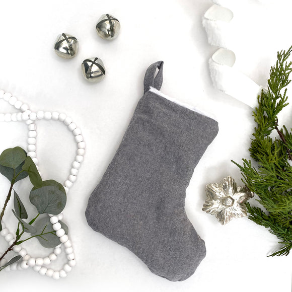 MINI Linen & Faux Fur Reversible Stocking - Charcoal