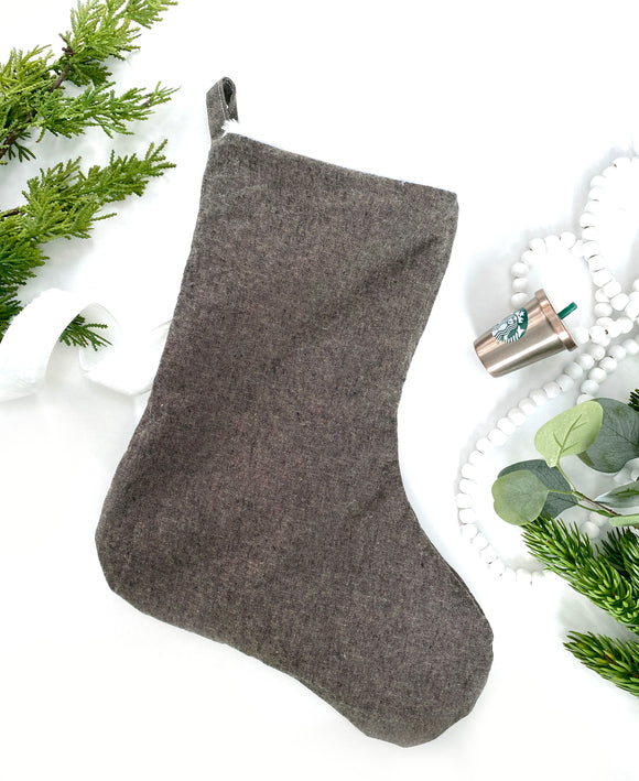 Linen & Faux Fur Reversible Stocking - Espresso
