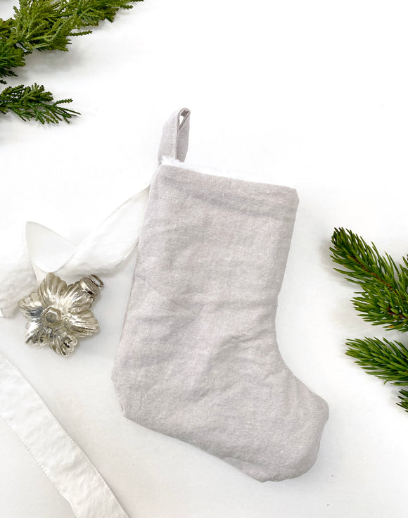 MINI Linen & Faux Fur Reversible Stocking - Heather Grey