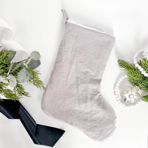 Linen & Faux Fur Reversible Stocking - Heather Grey