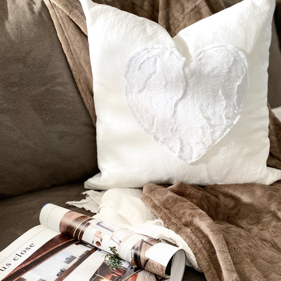 White Heart Designer Pillow 20x20 - with insert