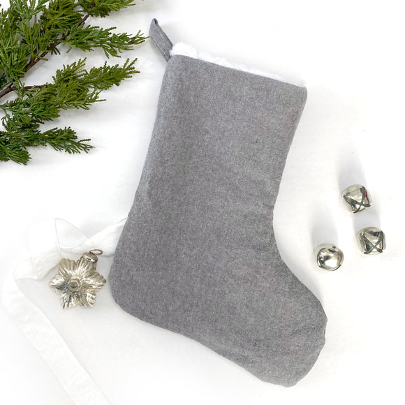Linen & Faux Fur Reversible Stocking - Charcoal
