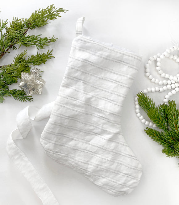 Linen & Faux Fur Reversible Stocking - Watercolor Stripe