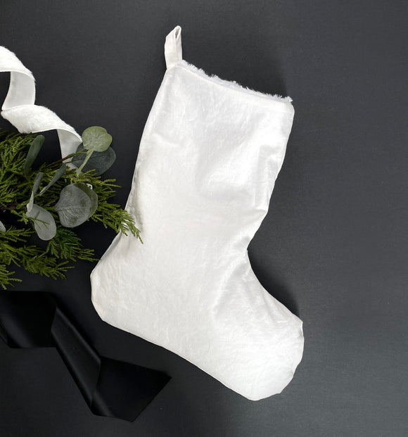 Linen & Faux Fur Reversible Stocking - White