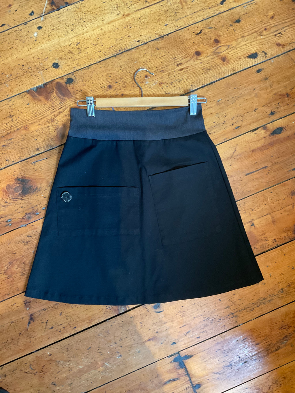 Mim Black Cotton Pocket Skirt