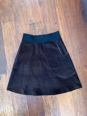 MiM Chocolate Velvet pocket Skirt
