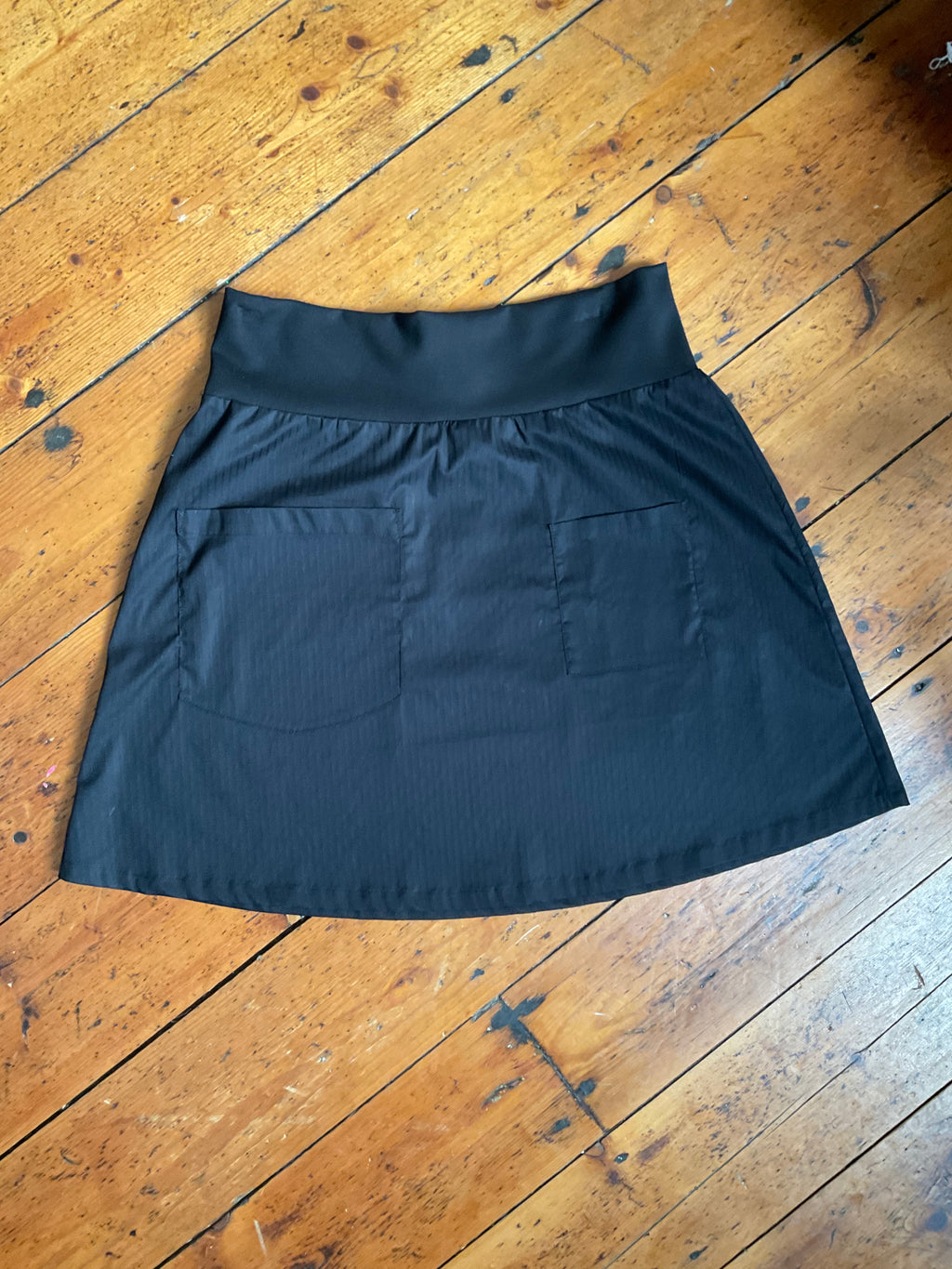 MiM Black Pinstripe Cotton Pocket Skirt