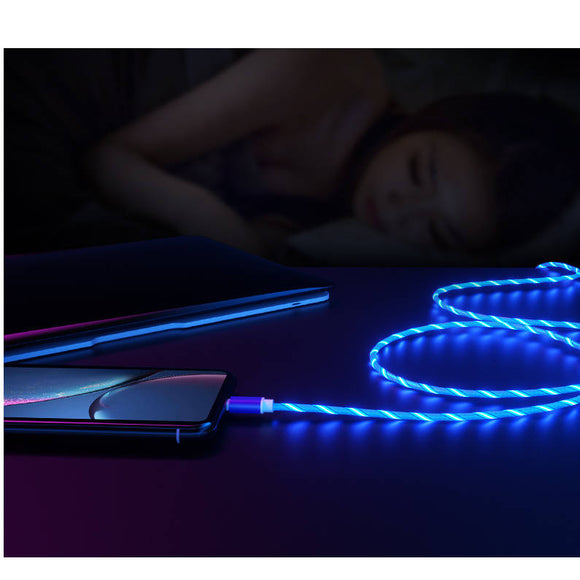 Water Flowing LED Light USB-A to Lightning or USB-C Charge Cable for iPhone / iPad / iPod / Android Smartphones