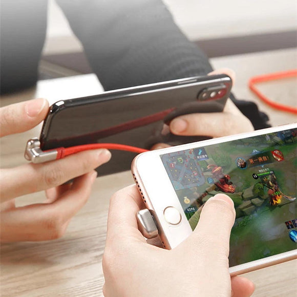 180° Dual Right-Angle Flat Lightning Cable for Charging while Gaming for iPhone / iPod
