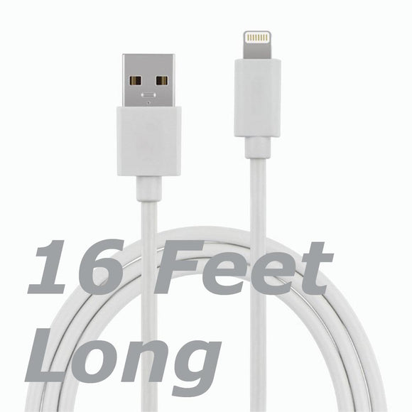 5 Meter 16ft Super Long USB - Lightning Cable for Charging and Data Sync for iPhone iPod iPad