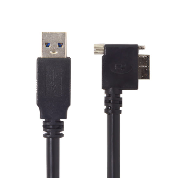 Super Long Panel Mount USB Extension Cable: (Right / Left) Angled Micro USB 3.0 Male Extension Cable