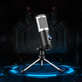 Plug-n-Play Real Time Cardioid Condenser USB Microphone with Stand for Live, Youtubers, vLoggers
