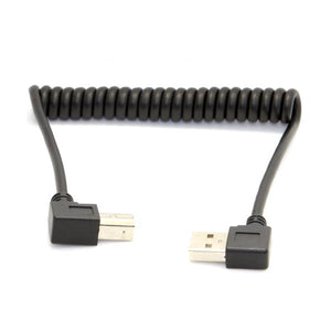 1M/3.3ft (Max.) Coiled Stretchable Right Angle USB-A Printer Cable (USB-A to USB-B Extension Cable)