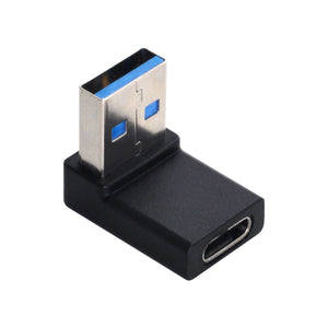 Right Angle USB 3.0 USB-A male to USB-C female Adapter