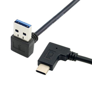 30cm / 1ft Down-Angled / Up-Angled USB A to Left-Angled / Right Angled USB-C (USB-A to USB-C) Extension Cable