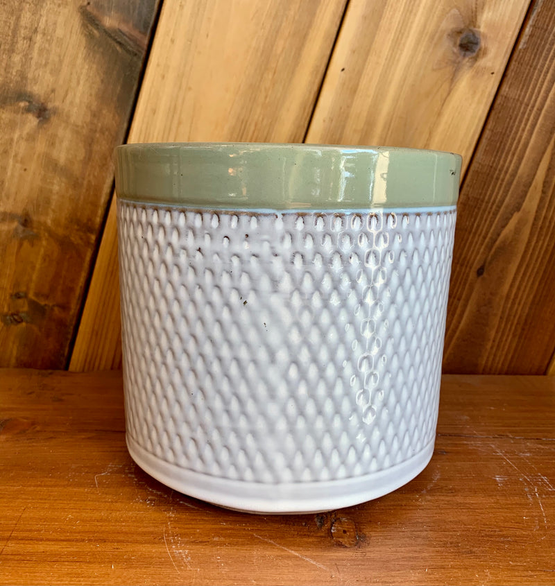 Ceramic Planter | Green Coloured Rim