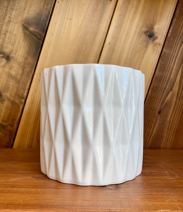 Ceramic Planter | White Diamonds