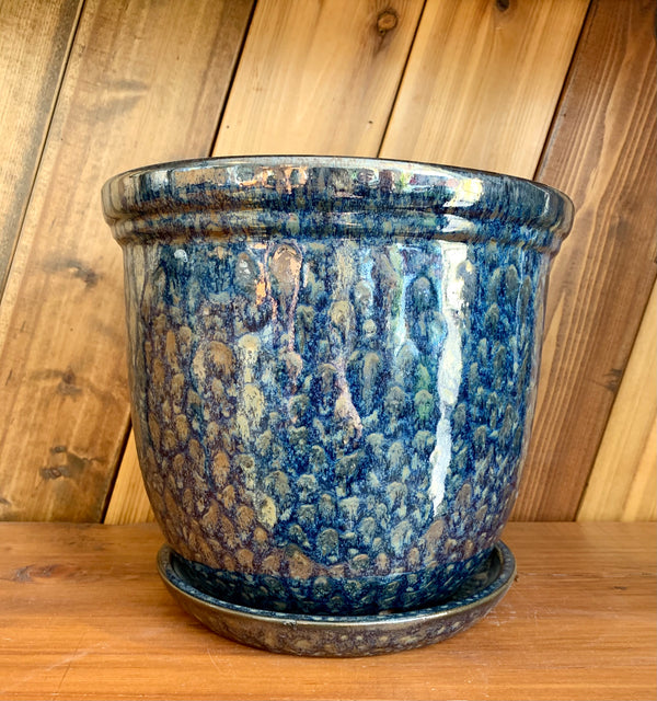 Ceramic Planter | Midnight Blue Iridescent with Saucer
