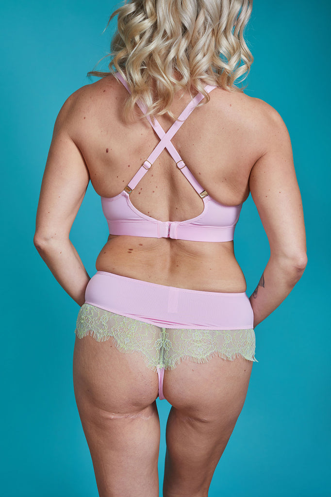 Icon pink cross over mastectomy bralette with pockets - Valiant Lingerie