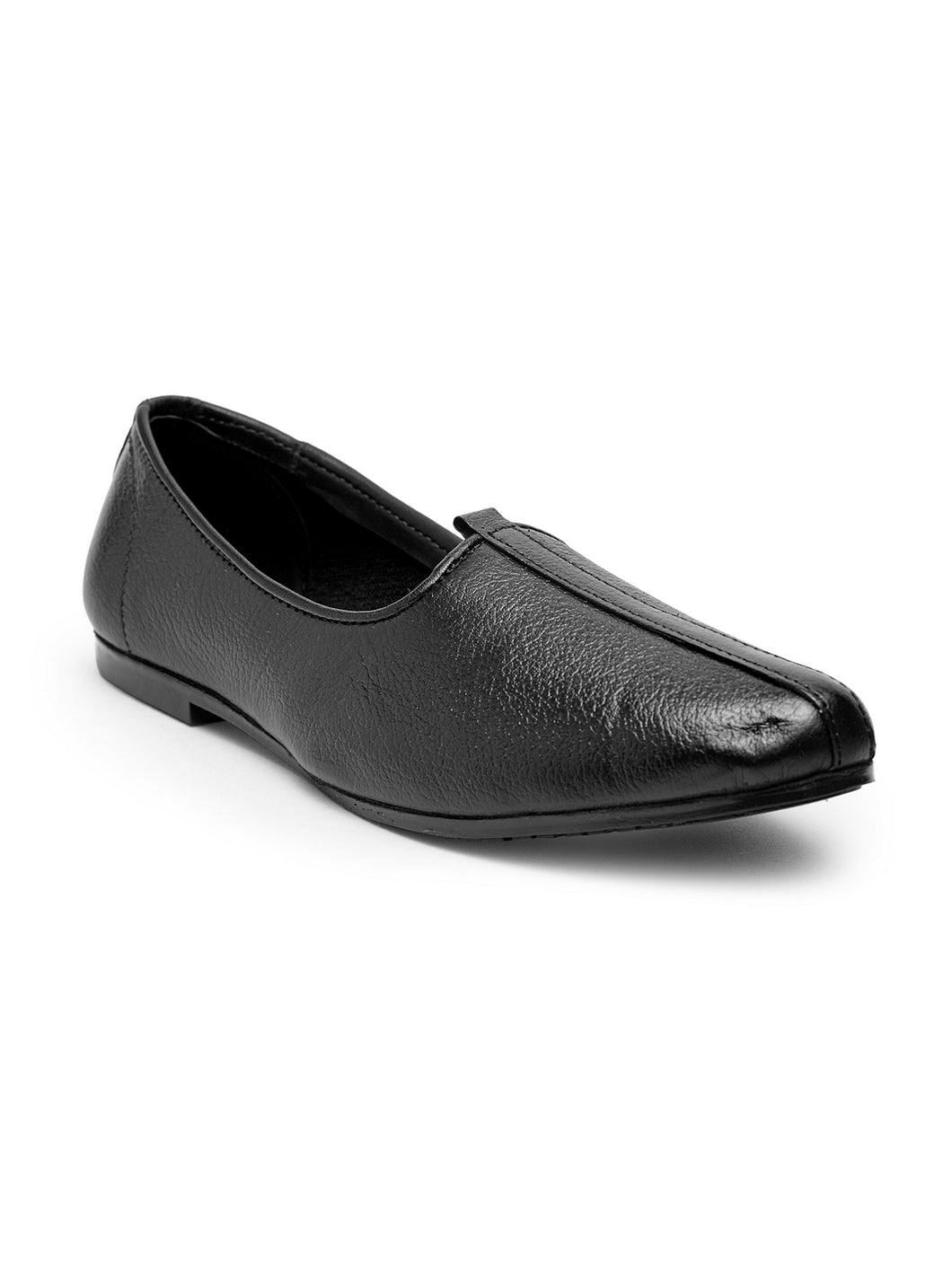 Teakwood Men Black Leather Mojaris||Men's Black Traditional Leather Mojari (Jutti/Loafers)