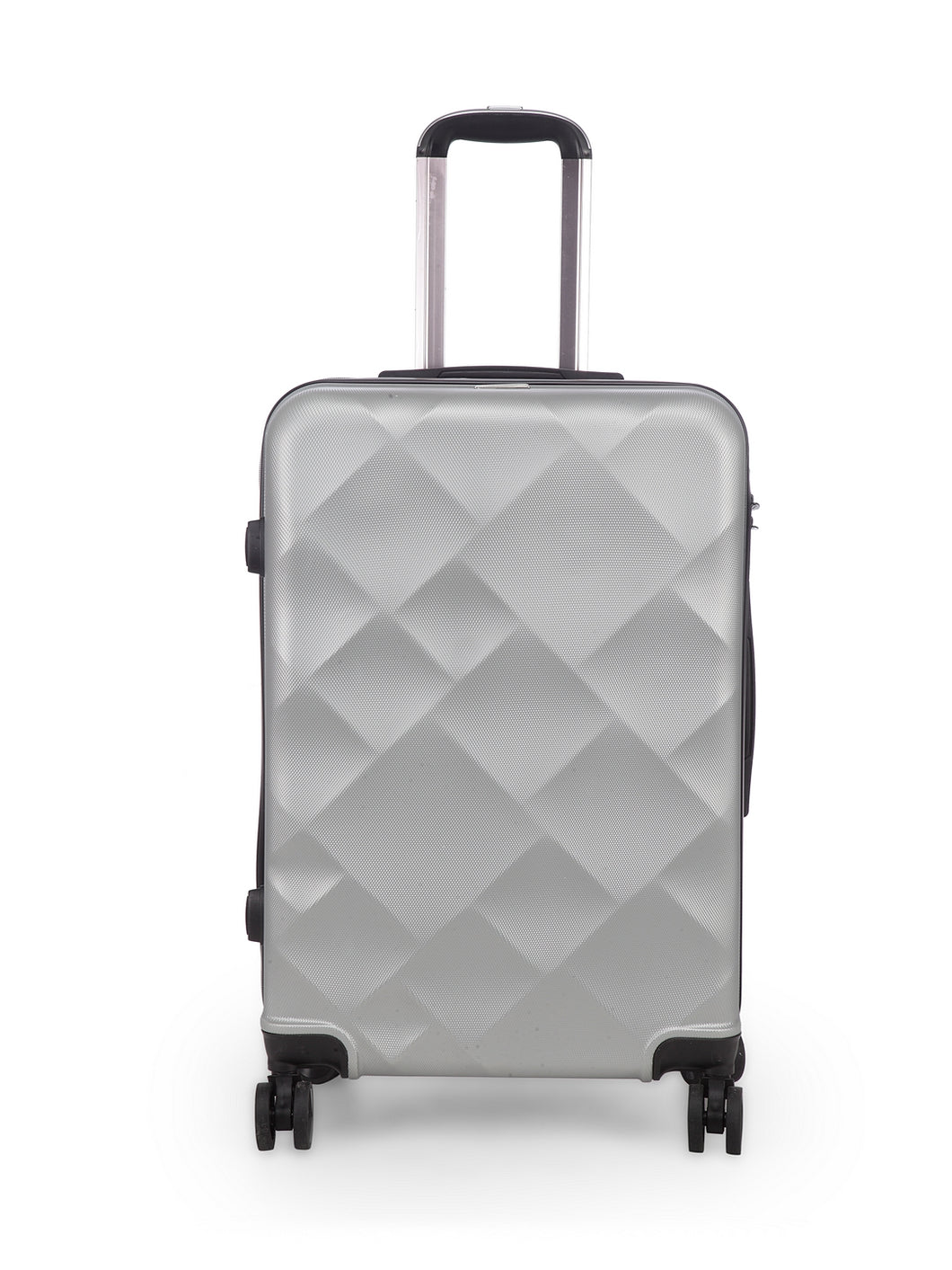 Unisex Silver Textured Hard-Sided Large Trolley Suitcase