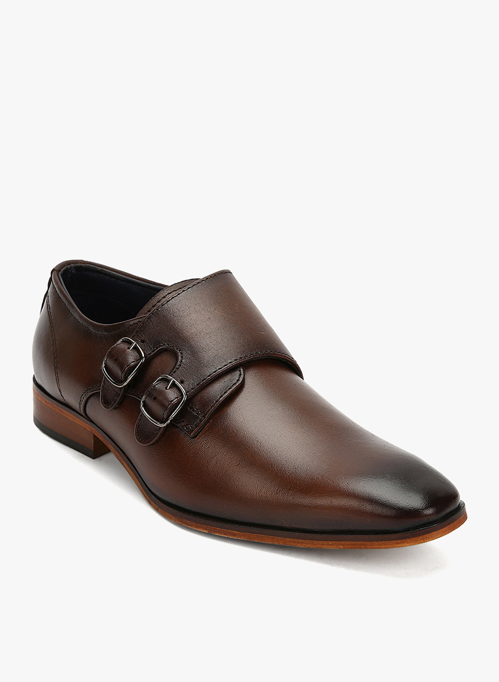 Teakwood Men Genuine Leather Double-Strap Monk Shoes