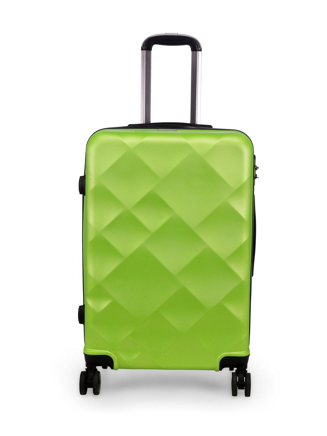 Unisex Green Textured Hard-Sided Medium Trolley Suitcase