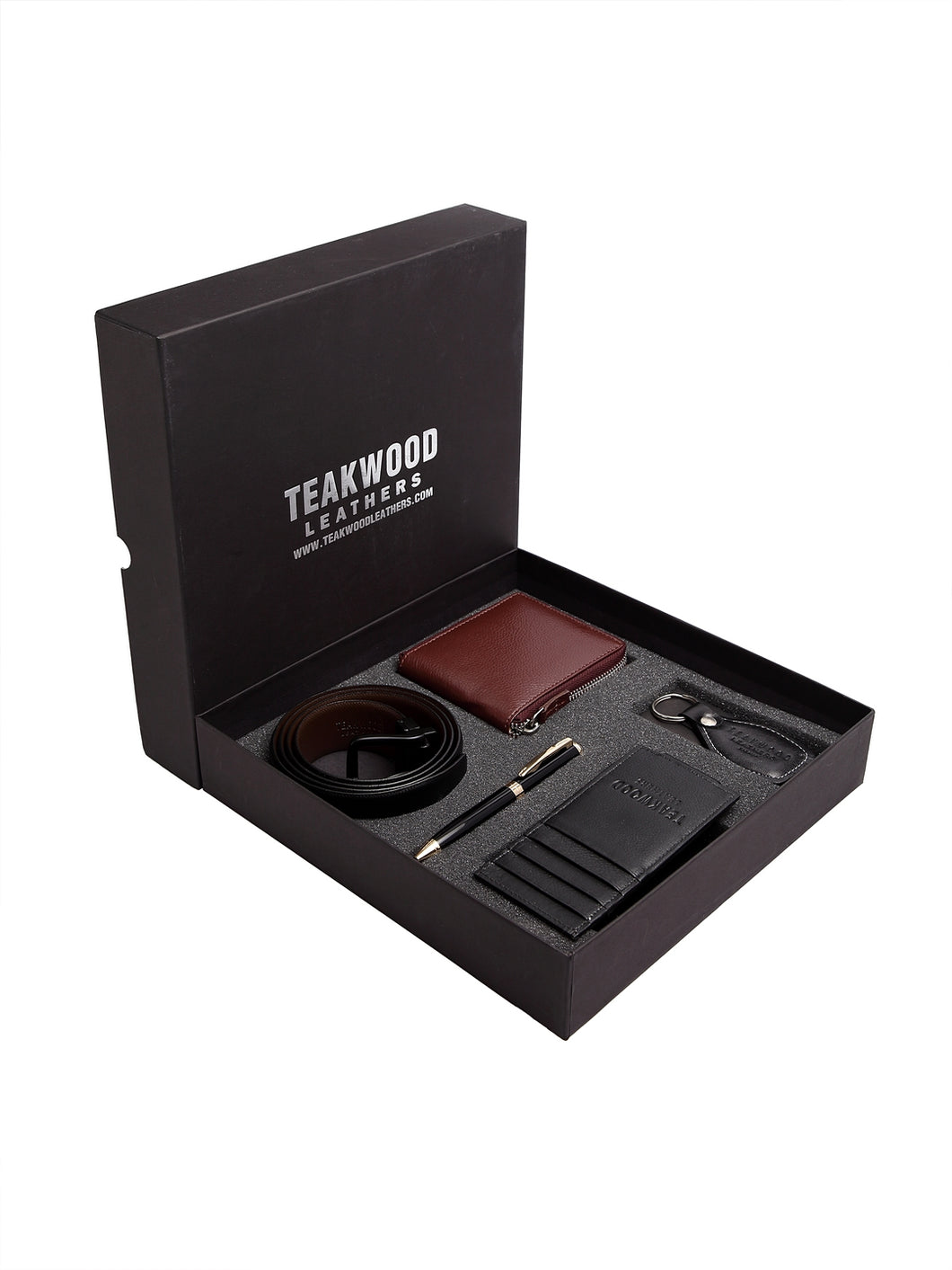 Teakwood Genuine Leather Combo Gift Set || Men Pack of Five Accessory Gift Set