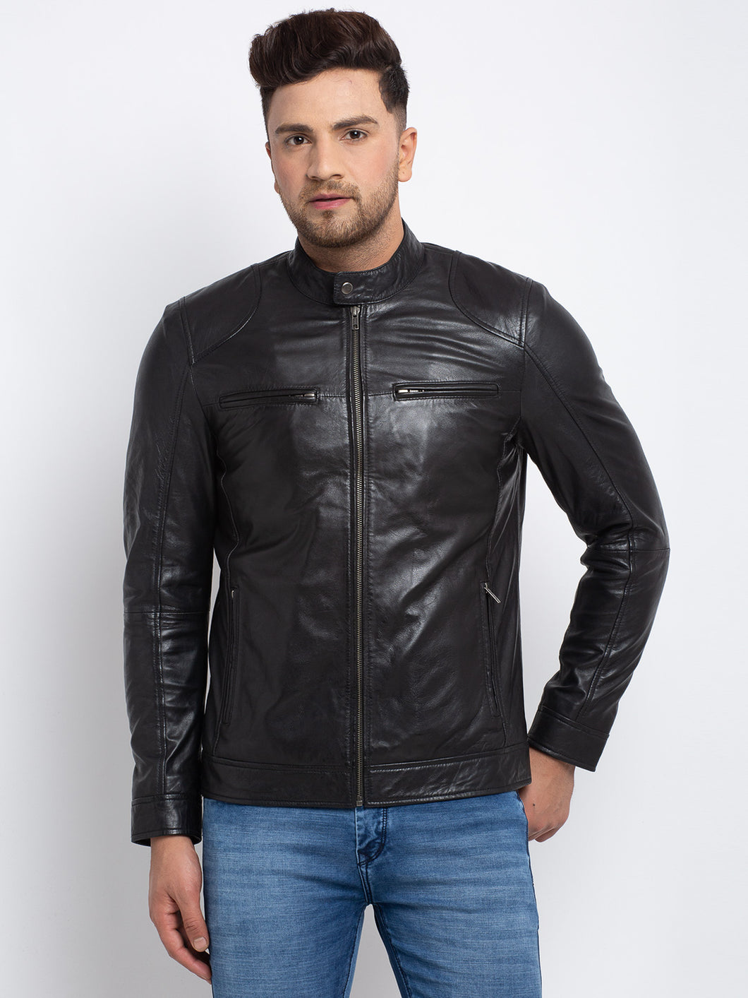 Teakwood Leathers  Men's 100% Genuine Black Leather Jacket