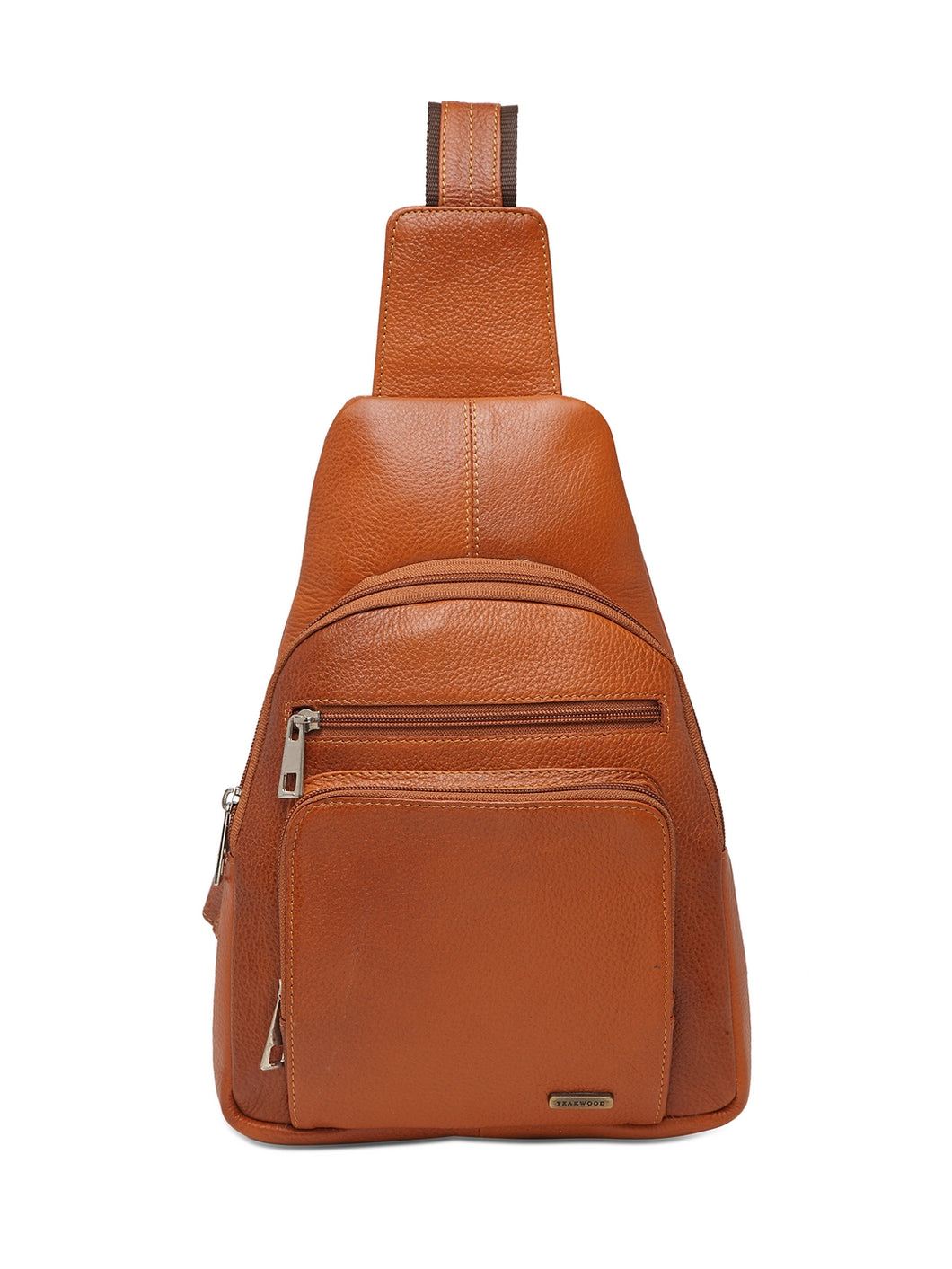 Teakwood Genuine Leather Cross Body Sling Messenger Bag || Lightweight Backpack Chest Shoulder Bags for Travelling, Hiking, Cycling (Tan)