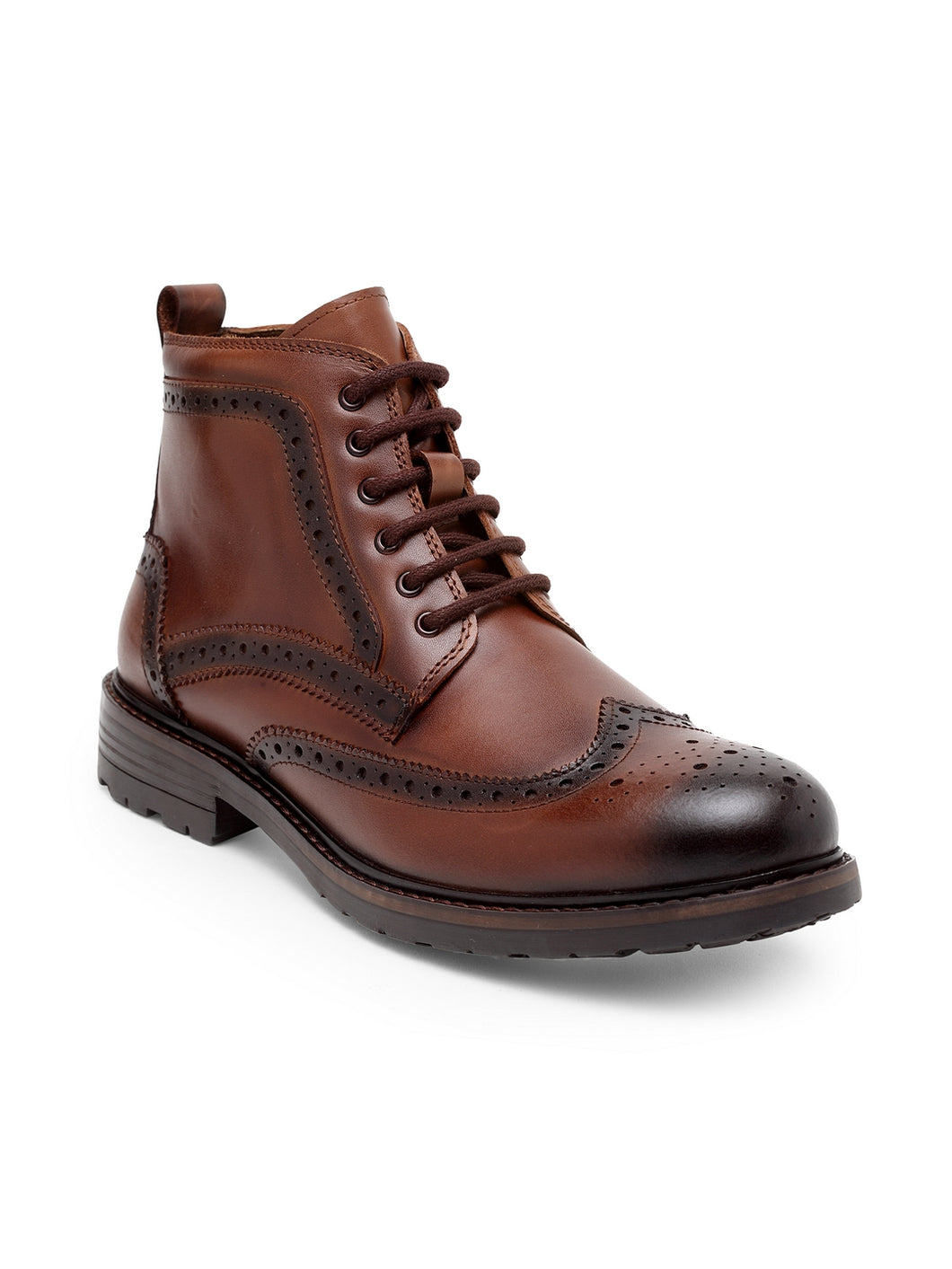 Teakwood Men Genuine Leather Mid top Brouges Boots