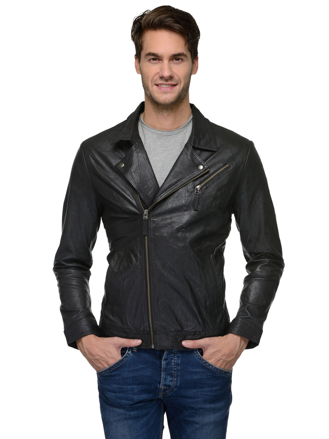 Teakwood Black Mens Genuine Leather Jacket