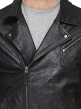 Load image into Gallery viewer, Teakwood Black Mens Genuine Leather Jacket