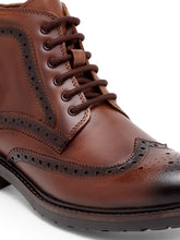 Load image into Gallery viewer, Teakwood Men Genuine Leather Mid top Brouges Boots