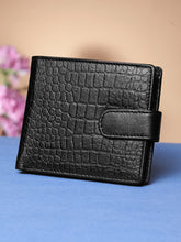 Load image into Gallery viewer, Teakwood Unisex Genuine Leather Black Bi Fold RFID Solid Wallet