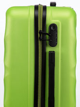 Load image into Gallery viewer, Unisex Green Textured Hard-Sided Medium Trolley Suitcase