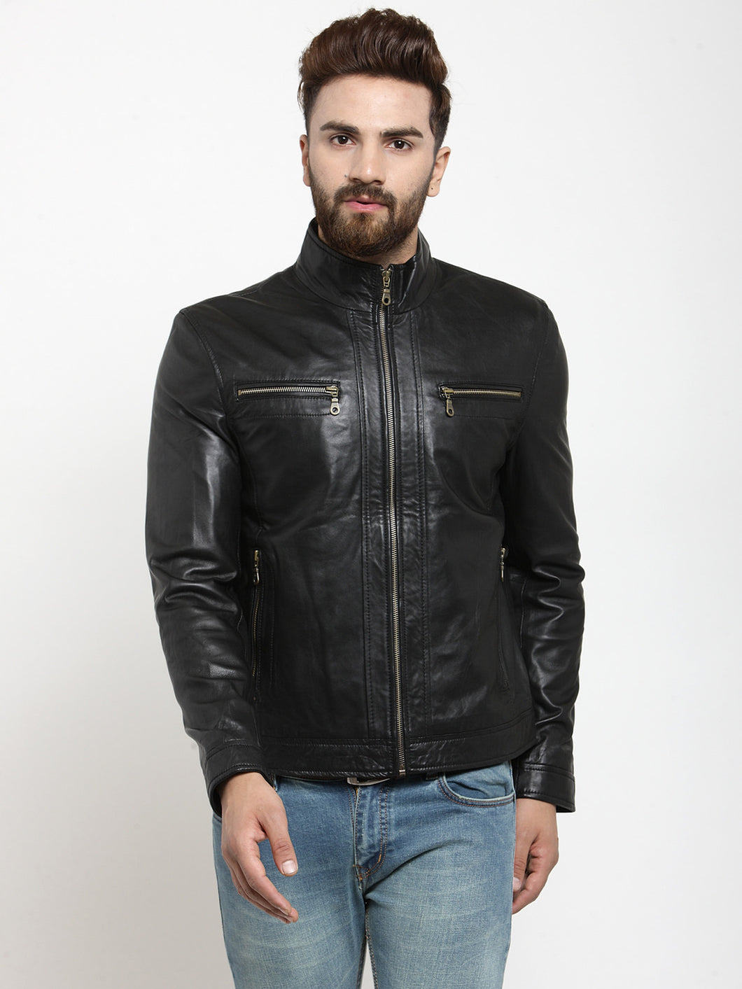 Teakwood Leathers Black Men's 100% Genuine Leather Jacket