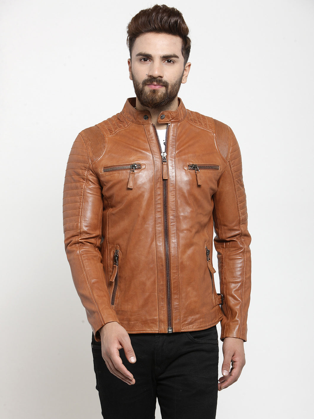 Teakwood Leathers Beige/Dark Mustard Men's 100% Genuine Leather Jacket