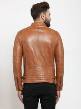 Load image into Gallery viewer, Teakwood Leathers Beige/Dark Mustard Men's 100% Genuine Leather Jacket