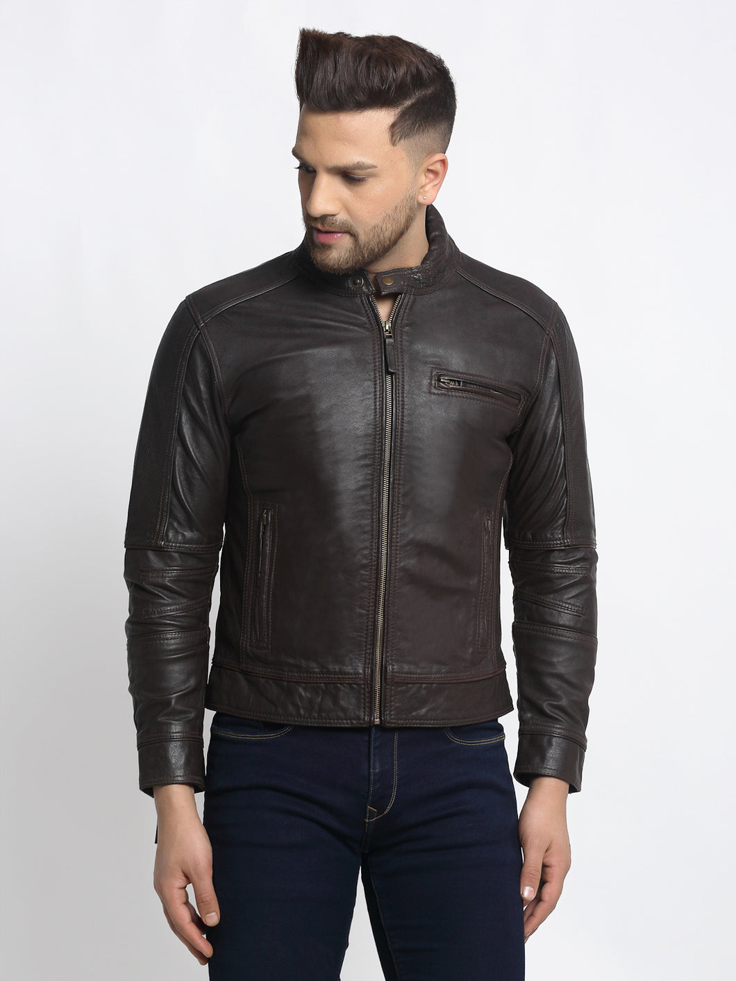Teakwood Leathers Brown Genuine Leather Jacket