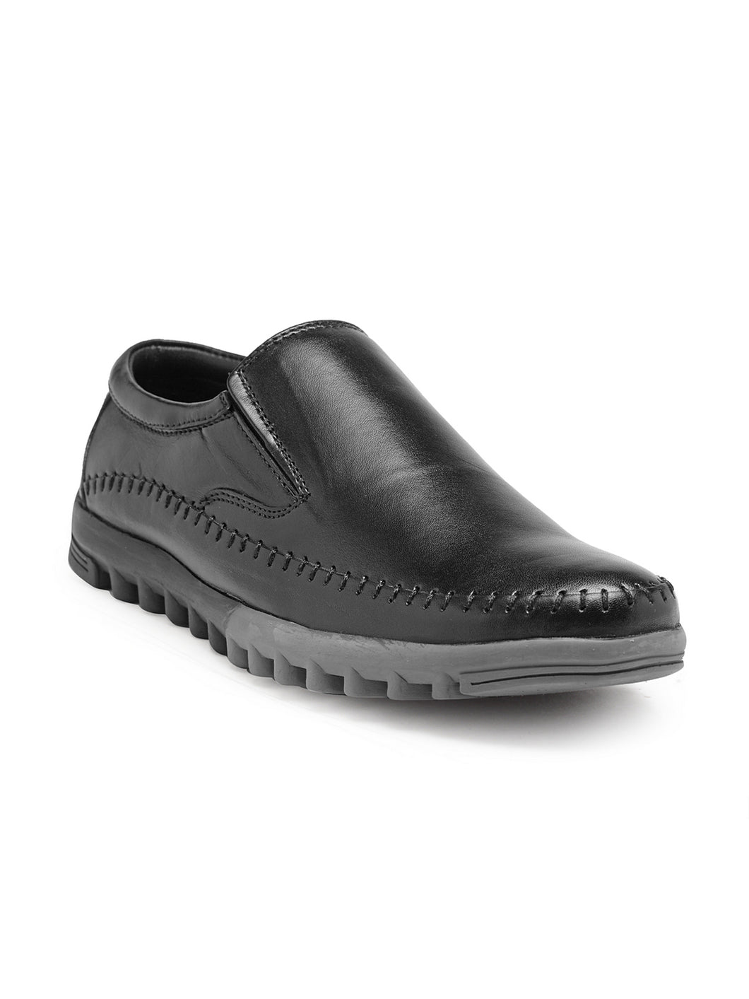 Teakwood Genuine Leather Black Loafers